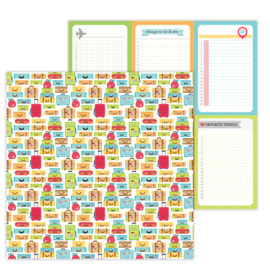I ♥ Travel Vacation Time double-sided cardstock