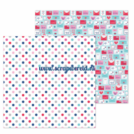 "Love You Dots Double Sided 12x12"" Cardstock"