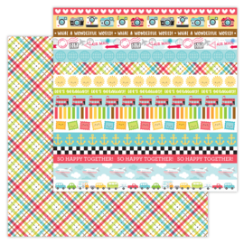 I ♥ Travel Plaid To Be Here double-sided cardstock