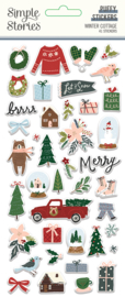 Winter Cottage- Puffy Stickers
