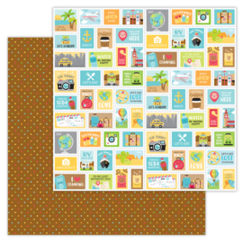 I ♥ Travel Scenic Spot double-sided cardstock