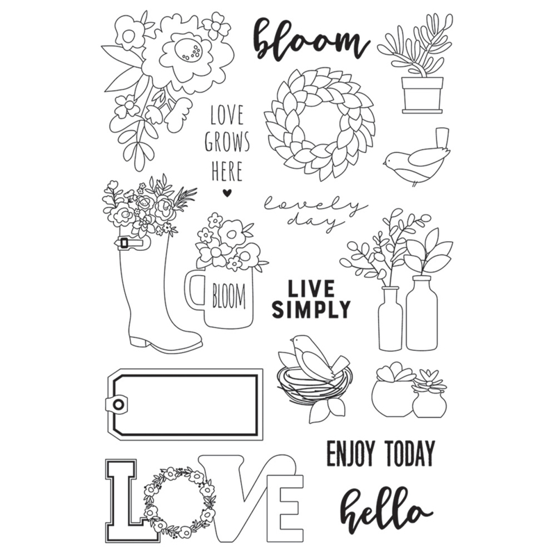 Spring Farmhouse Live Simply 4x6 Stamps