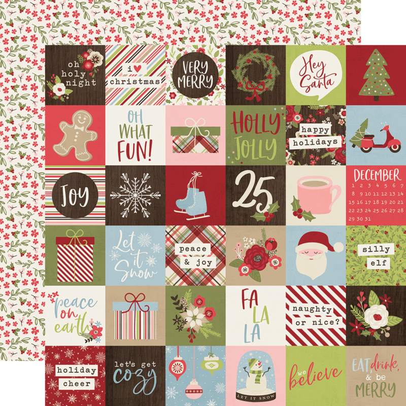 """Holly Jolly 2x2 Elements Double Sided 12x12"""""""