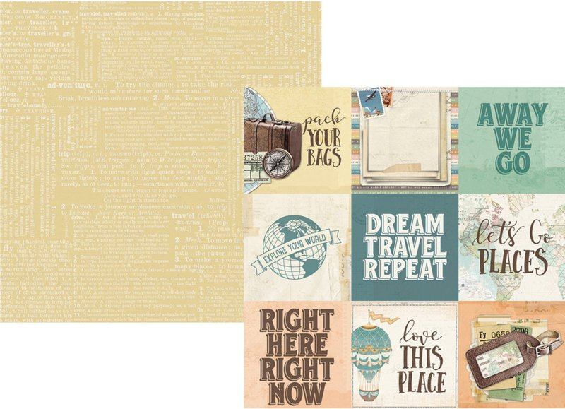 """Simple Vintage Traveler  4x4 Elements Double Sided 12x12"""""""