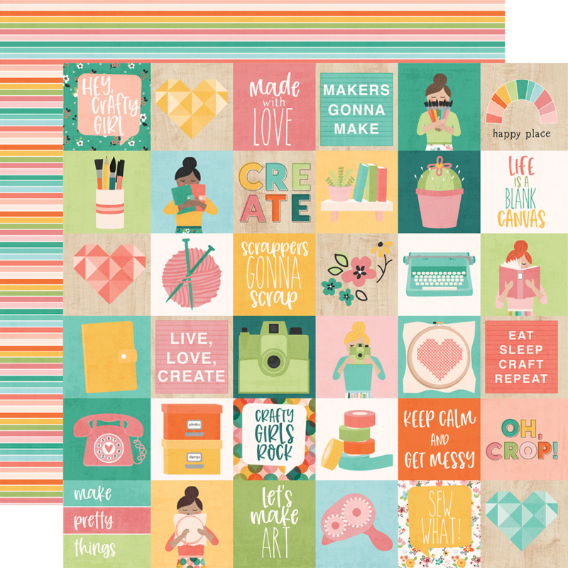 """Hey, Crafty Girl 2x2 Elements Double Sided 12x12"""""""
