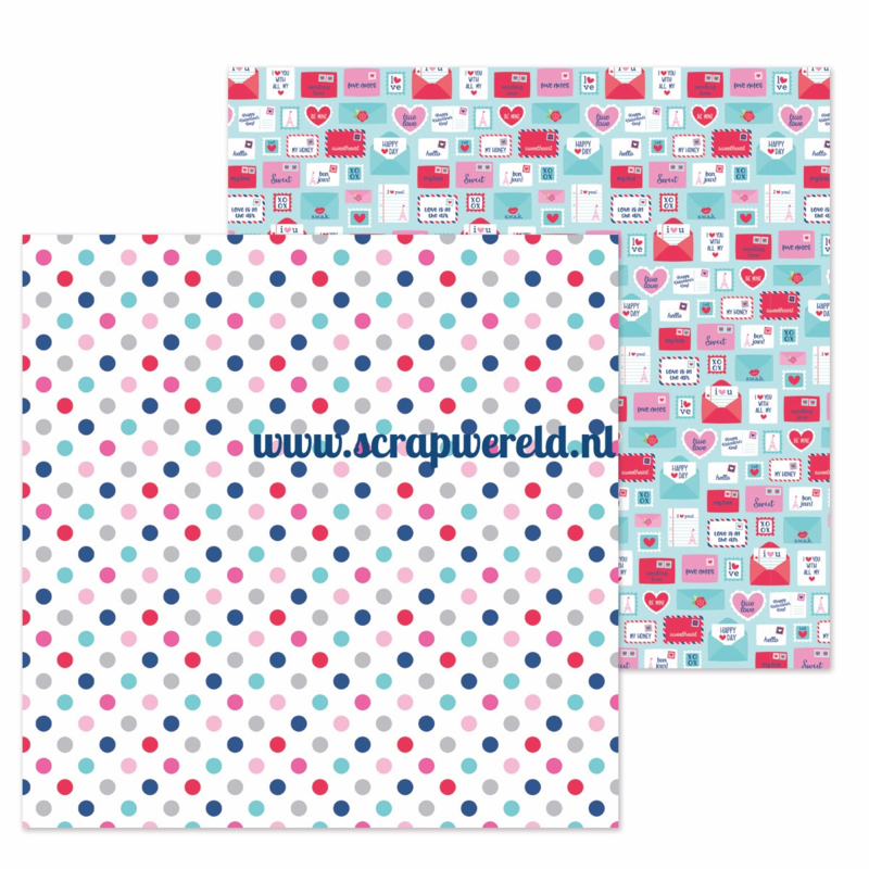 """Love You Dots Double Sided 12x12"""" Cardstock"""
