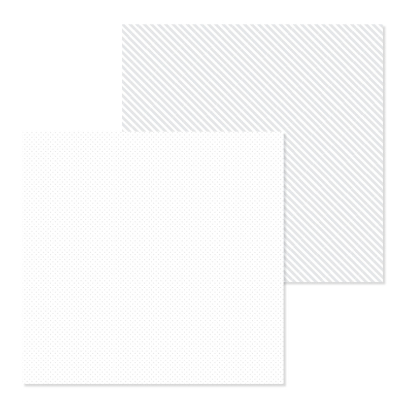 Dot-Stripe Petite Prints Cardstock Lily White