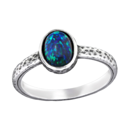 925 STERLING ZILVEREN RING - BLAUWE STEEN