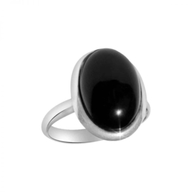 925 STERLING ZILVEREN RING - BLACK ONYX
