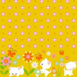 Finch fabrics - Playin' kittens yellow