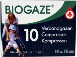 Biogaze verbandgazen 10 x 10 cm / 10 stuks
