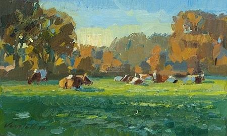 Koeien in najaarslicht