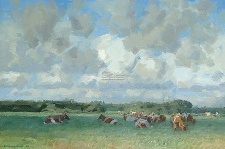 Kudde met wolkenlucht