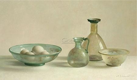 Stilleven met Romeins glas in tegenlicht