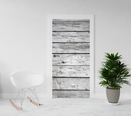 Deurposter - deursticker Houten planken grijs