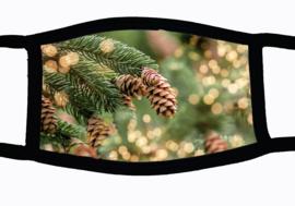 Sublimatie mondkapje Kerst Denneboom, in 3 maten