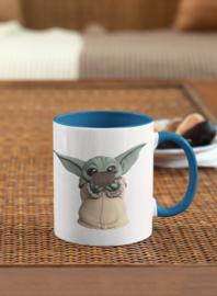 Mok, blauw handvat, Star Wars baby Yoda II