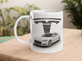 Mok  met afbeelding Tesla wit met tekst