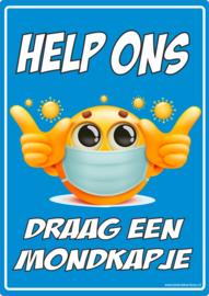 "Corona sticker ""Help ons - Draag een mondkapje"""