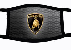 Sublimatie mondkapje met Lamborghini embleem print, in 3 maten
