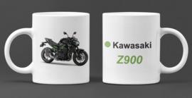 Mok  met afbeelding Kawasaki Z900 -  met tekst (zwart  met kleur)