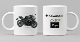 Mok  met afbeelding Kawasaki ZX10R - Ninja met tekst (zwart groen)