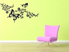 Muursticker Tak met vlinder, zwart