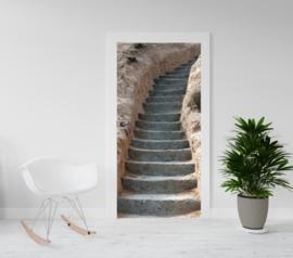 Deurposter - deursticker Oude stenen trap