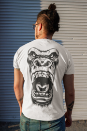T-shirt wit Angry Gorilla - Brul (dubbelzijdig)