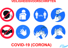 Veiligheidssticker    Covid-19 (Corona), liggend A4 of A5