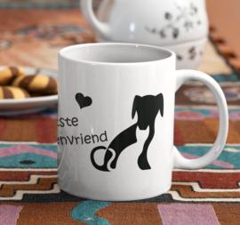 """Mok  met tekst """"De grootste dierenvriend"""" met afbeelding hond/kat"""