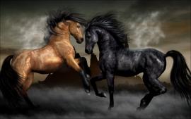 Poster Vurige Hengsten, paarden