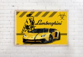 Poster Lamborghini geel - stier, exclusief