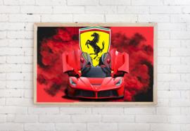 Poster Ferrari met logo, exclusief