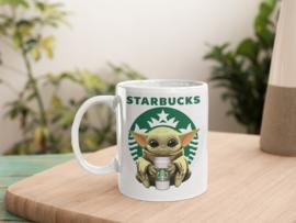 Witte mok - Baby Yoda HUG Starbucks