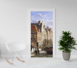 Deurposter - deursticker Stadsgezicht - a busy street - Willem Koekkoek