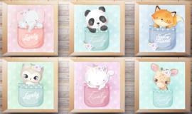 Canvas posters 6 dieren in een zak
