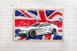 Poster Bentley met tekst ,op vlag, exclusief