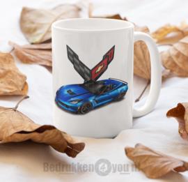 Mok  Corvette blauw met logo