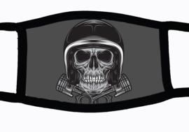 Sublimatie mondkapje met Motorrijder doodshoofd, in 3 maten