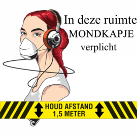 Sticker - Houd afstand- Mondkapje verplicht. Twee soorten