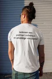 T-shirt wit Prettige Lockdown en gelukkige vaccinatie!