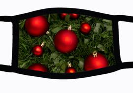 Sublimatie mondkapje Kerst Kerstballen rood, in 3 maten