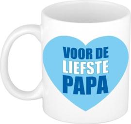 Witte mok - Voor de liefste papa - blauw hart / vaderdag