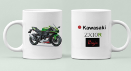Mok  met afbeelding Kawasaki ZX10R - Ninja met tekst (zwart groen rood)