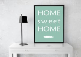 "Poster ""Home sweet Home"" mintgroen wit A5 / A4"