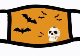 Sublimatie mondkapje Halloween vleermuizen en schedel, oranje, in 3 maten