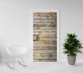 Deurposter - deursticker Houten planken ( I) horizontaal