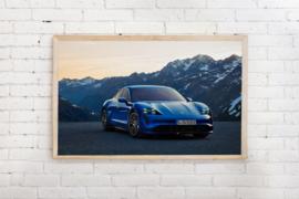 Poster Porsche Taycan blauw