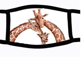 Sublimatie mondkapje Giraffe familie, in 3 maten